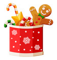 new year tradition desserts in cup with snowflake vector image