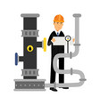 oilman engineer character controlling gauges on an vector image vector image