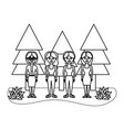 outline women friends together with pine trees vector image vector image