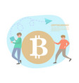 people and bitcoin coins vector image vector image