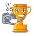 photographer champion golden trophy on cartoon vector image vector image