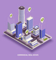 real estate isometric composition vector image vector image