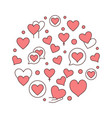 red hearts round creative vector image vector image