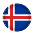 round metallic flag of iceland with screw holes vector image