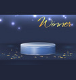 round winner podium on bright blue background vector image