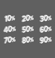 set 3d discount isometric numbers with percents vector image