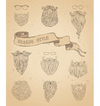 set of hipster beards and eyeglasses vector image