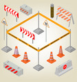 set of road signs repairs in isometric vector image vector image