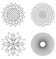 set simple floral mandalas black and white vector image vector image