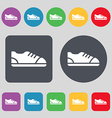 shoe icon sign A set of 12 colored buttons Flat vector image vector image