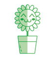 silhouette kawaii beauty and happy flower plant vector image vector image