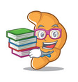 student with book croissant character cartoon vector image vector image