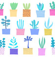 succulent plant seamless pattern background vector image vector image