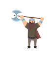 terrible bearded viking holding battle ax in two vector image vector image