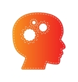 Thinking head sign Orange applique isolated vector image vector image