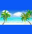 tropical beach palm trees vector image vector image
