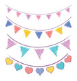 vintage bunting flags and garlands vector image vector image