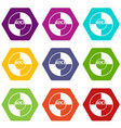 vinyl icon set color hexahedron vector image vector image