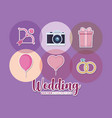 wedding celebration card with set icons vector image vector image
