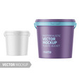 white matte plastic bucket with lid mockup vector image