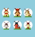 windmills set old buildings for grinding flour vector image vector image
