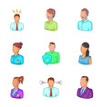 workaholic icons set cartoon style vector image vector image