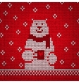Knitted white bear warm vector image