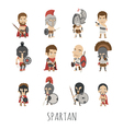 Set of spartan soldier costume characters vector image