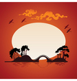 Abstract asian landscape - sunset vector image vector image