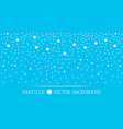 abstract falling snow particles cyan background vector image vector image