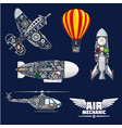 air mechanics and mechanisms icons set vector image vector image
