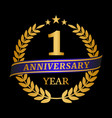 anniversary golden laurel wreath on black vector image