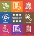 assessment concept with icons and signs vector image vector image