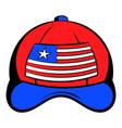 baseball in usa flag colors icon cartoon vector image vector image