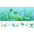 blue and green spring grass cartoon 3d icon set vector image