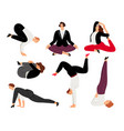 business woman do yoga pose relax and meditation vector image vector image