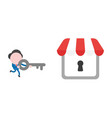 businessman character running and carrying key to vector image vector image