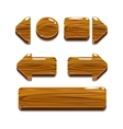 Cartoon wood buttons for game or web design vector image vector image