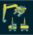 colorful heavy excavator drawings vector image vector image