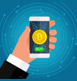 concept crypto currency phone in hand with a vector image vector image