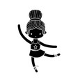 contour girl dancing ballet with hair bun vector image
