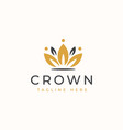 crown floral logo template logo template vector image vector image