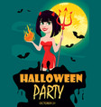 devil girl for halloween party invitation sexy vector image vector image