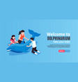 dolphinarium horizontal banner vector image vector image