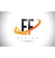 ef e f letter logo with fire flames design and vector image