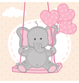elephant on swing with balloons vector image vector image