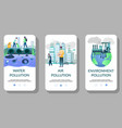 environment pollution mobile app onboarding vector image vector image