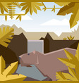 flat geometric jungle background with capybara vector image vector image