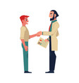 flat male doctor shaking hand to man patient vector image