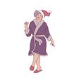 flat sketch old woman in santa hat fun vector image vector image